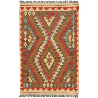 eCarpetGallery Istanbul Yama Kilim Brown, Red Wool Hand-woven Rug (3'3 x 5'2)