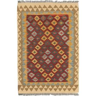 eCarpetGallery Izmir Kilim Blue/Red Wool Hand-woven Rug (3'5 x 5'0)