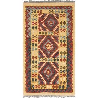 eCarpetGallery Red/Yellow Wool Handwoven Anatolian Kilim (3'5 x 6'2)