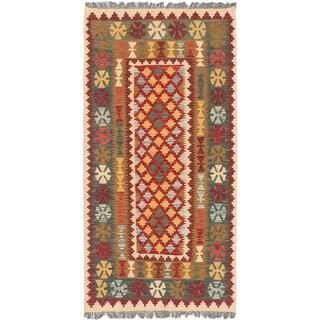 eCarpetGallery Blue/Red Wool Handwoven Kashkoli Kilim Rug (3'4 x 6'6)