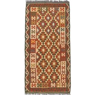 eCarpetGallery Anatolian Kilim Blue/Brown Wool Hand-woven Rug (3'4 x 6'7)