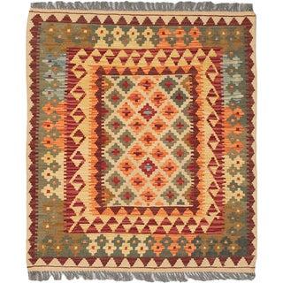 eCarpetGallery Hand-woven Izmir Brown/ Yellow Wool Kilim Rug (3'2 x 3'7)