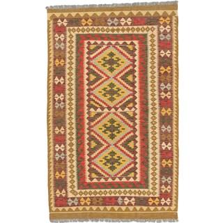 eCarpetGallery Istanbul Yama Kilim Brown/Red Handwoven Wool Kilim (4'3x6'9)