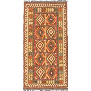 eCarpetGallery Hand-woven Istanbul Yama Brown, Red Wool Kilim Rug (3'6 x 6'8)