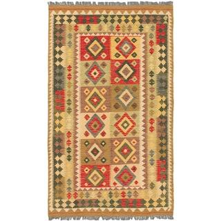 eCarpetGallery Hand-woven Istanbul Yama Green Wool Kilim Rug (4'x6'9)