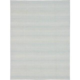 eCarpetGallery Nevada Blue/Ivory Wool Handwoven Rug (9' x 12')