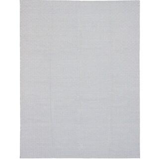 eCarpetGallery Nevada Blue/Ivory Wool/Cotton Handwoven Rug (9'3 x 12'3)
