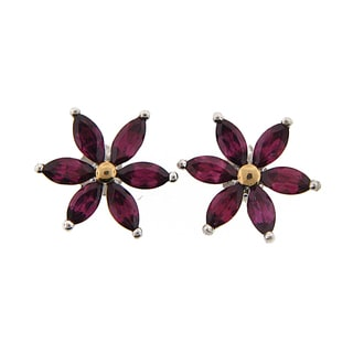 Meredith Leigh Sterling Silver and 14k Yellow Gold Rhodolite Flower Earrings