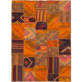 eCarpetGallery Anatolia Patch Orange Wool and Cotton Kilim Hand-woven Oriental Area Rug (6'3 x 8'8)