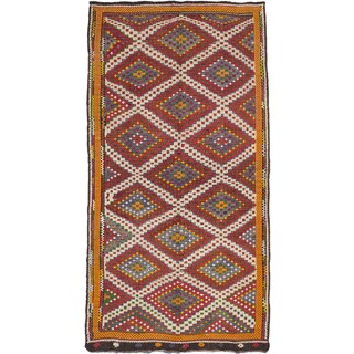 eCarpetGallery Hand-woven Yoruk Blue and Red Wool Sumak Rug (6'7x12'2)
