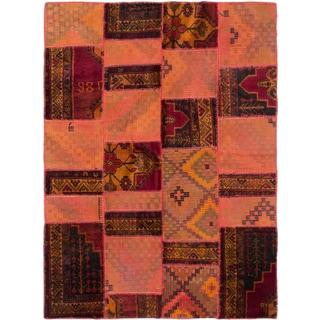 eCarpetGallery Handwoven Anatolia Patch Brown/Red Wool Kilim (5'9 x 7'9)