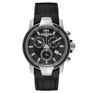 Technomarine Women's UF6 Stainless Steel Black Leather Strap Quartz Watch