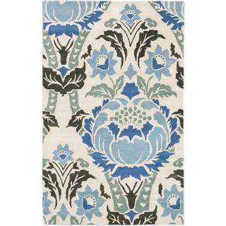 eCarpetGallery Impressions Blue/Ivory Handmade Wool Rug (5'x8')
