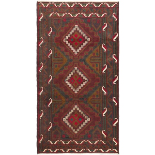 eCarpetGallery Hand-knotted Royal Baluch Blue and Red Wool Rug (3'7x6'7)