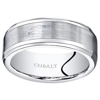 Oravo Men's Cobalt 8-millimeter Beveled-edge Brushed-finish Center Wedding Band/Ring