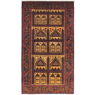eCarpetGallery Vintage Tribal Brown/Yellow Hand-knotted Wool Rug (3'7 x 6'3)
