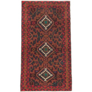 eCarpetGallery Blue/Red Wool Hand-knotted Royal Baluch Rug (3'8 x 6'6)
