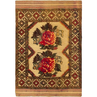 eCarpetGallery Tajik Tribal Brown/Yellow Wool Hand-knotted Oriental Area Rug (4' x 5'10)