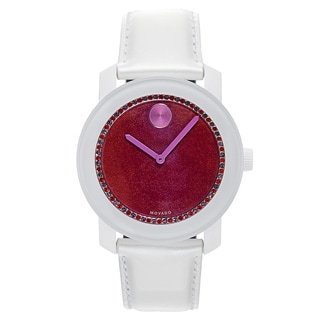 Movado Women's Stainless Steel White Leather Band Mineral Dial Swiss Quartz Watch