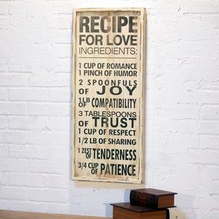 'Recipe of Love' White Wood Wall Decor