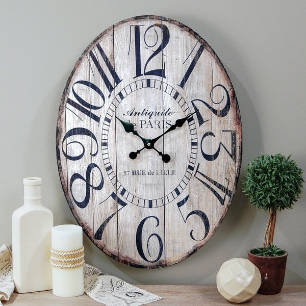 White/Black Wood 23-inch Oval Clock