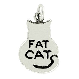 BSE Sterling Silver Fat Cat Flat Charm