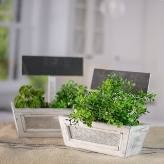 Wooden Planter Box with Customizable Chalkboard (Set of 2)