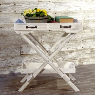 White Wood and Metal Folding Table