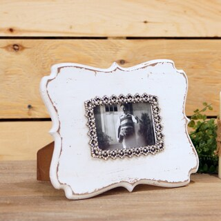 White MDF and Glass Jeweled Picture Frame