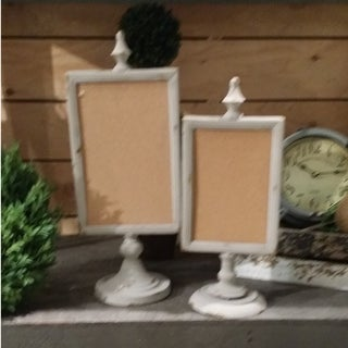Standing White and Brown Natural Wood Fiber Easel Corkboards (Set of Two)