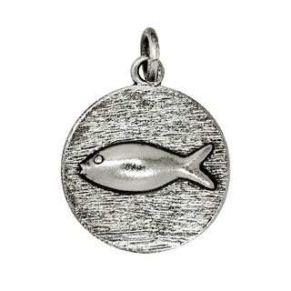 BSE Sterling Silver Fish in Circle Disc Charm