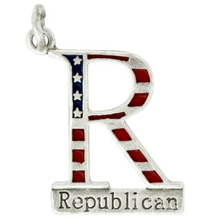 Sterling Silver Enameled Republican Charm