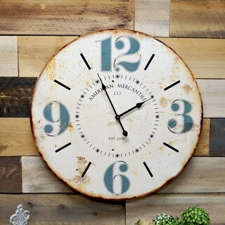 MDF Wooden 23-inch Blue-numbered Wall Clock