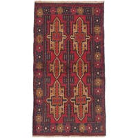 eCarpetGallery Bahor Brown/Red Hand-knotted Wool Rug (3'3 x 6'1)