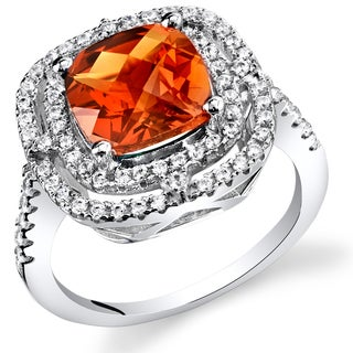 Oravo Sterling Silver 3-carat Orange/Red Created Padparadscha White Cubic Zirconia Accents Cocktail Ring