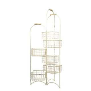 White Metal 6-Bin Storage Rack