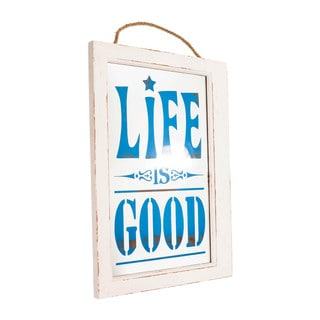 'Life Is Good' Blue/White Glass/Wood Plaque