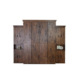 Reclaimed Queen Murphy Bed with Two Door Bookcases in Distressed Brown Finish