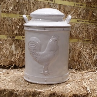 White Ceramic Rooster Candy Jar