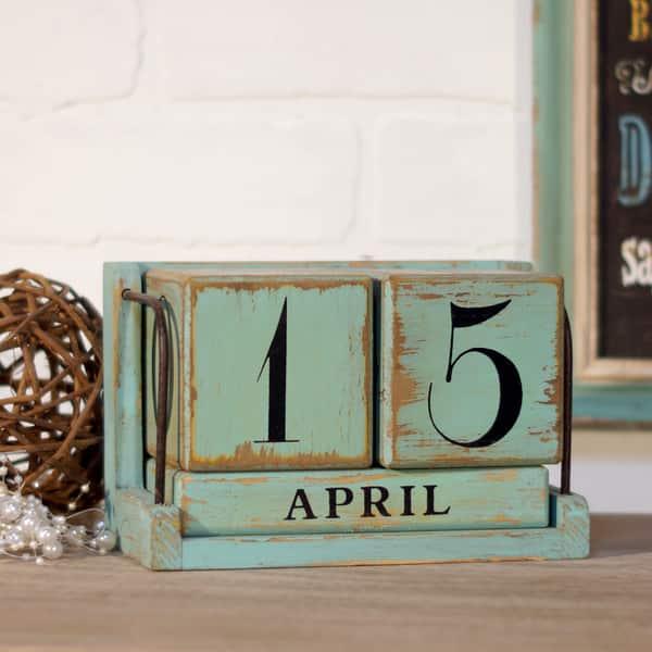 Blue Wood Perpetual Calendar