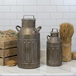 Grey Metal 2-piece Milk Jug Set