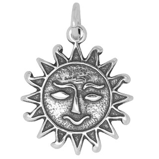 BSE Sterling Silver Smiling Sun Face Charm