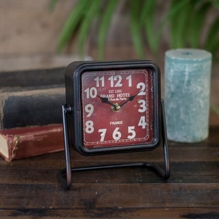 Red Metal Square Table Clock