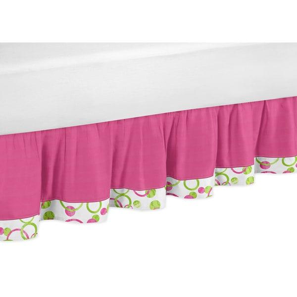 Sweet Jojo Designs Pink and Green Mod Circles Queen-size Bedskirt