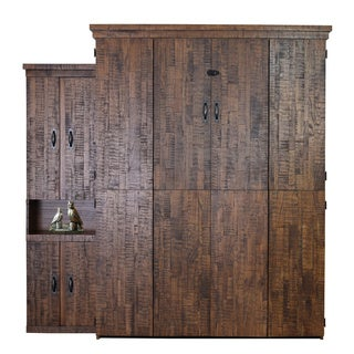 Reclaimed Queen Murphy Bed with One Door Bookcase in Distressed Brown Finish