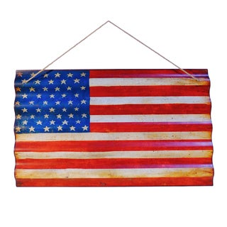 United States Flag Multicolor Corrugated Metal Accent Piece with Rope Hanger