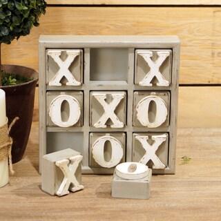 Tic-tac-toe White and Grey Wood Block Set