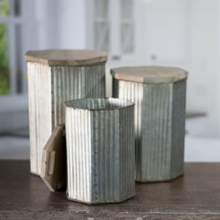 Grey and Brown Metal 3-piece Canister Set