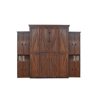 Steeplechase Queen Murphy Bed with Two Door Bookcases in Distressed Brown Finish