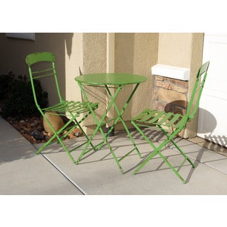 Green Metal Table and Chairs Set